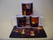 lava mugs and mouse mat