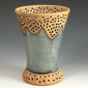 Pierced Vase with Variegated Blue
