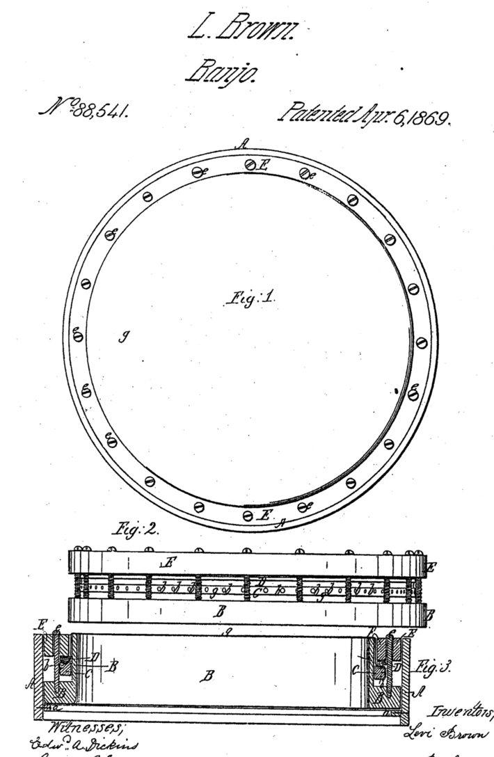 Levi Brown 1869 Banjo Patent Drawing