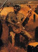 """Winslow Homer, """"Defiance"""" Detail 2: Black Banjo Player"""