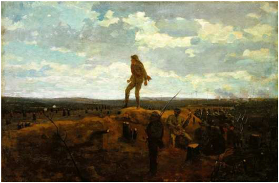 Winslow Homer 1864 Painting, Defiance: Inviting a Shot Before Petersburg, Virginia_at Detroit Institute of Arts