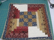 Log Cabin Handquilted / Piped Pillow