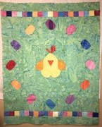 Added border to top and bottom to make it baby quilt size. Reminds me of jelly beans.