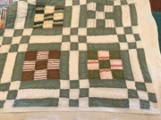 WIP:  repaired a vintage quilt for a customer and working on a new floral nine patch