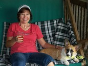 A glass of cider, my dog, and a porch swing