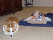 Showing Kirby how to do tummy time.