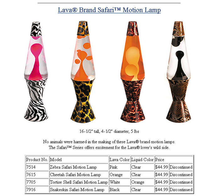 Lava Lamp Safari Series 1