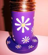 Flower power purple glitter lamp base