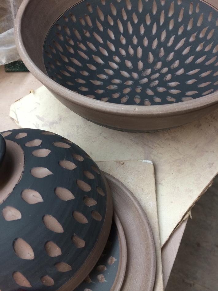 Bridges Pottery Carved Sampler  - Butter Dish and Bowl