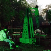 completing the sculpture