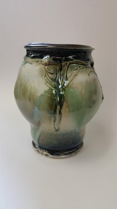 Porcelain Vase with Sprayed Glazes and Slip