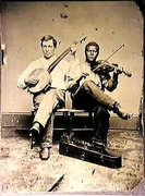 Confederate banjo player, 1865.