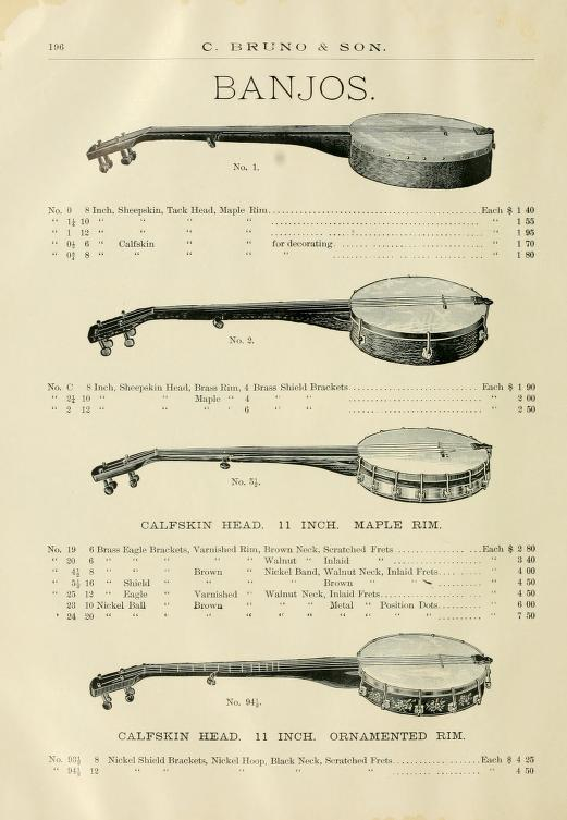 Low-tech banjos from C. Bruno & Sons Ca. 1890