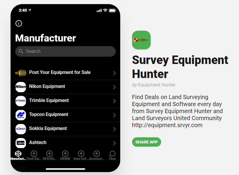 Land Surveyor Mobile App for finding deals on Surveying Equipment