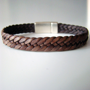 "Bracelet de cuir tressé ""Dandy"" Sweet marron antique"