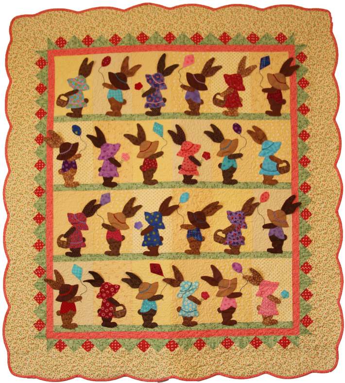 Bunnies on Parade a quilt with 3D floppy eared bunnies
