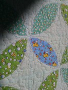 Green and Blue Orange Peel Baby Quilt