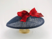 Navy with WHite Polka Dots and Red Sculpted Bow