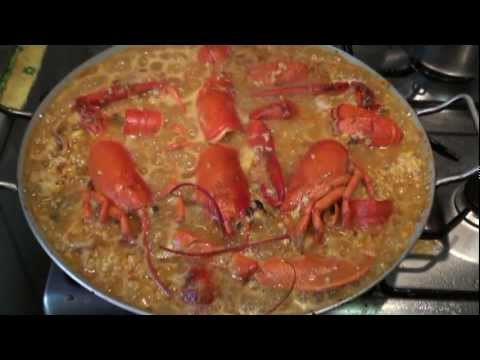 "Receta"" ""Paella de bogavante"" Video receta 37 Aquí cocinamos todos Cooking recipe"