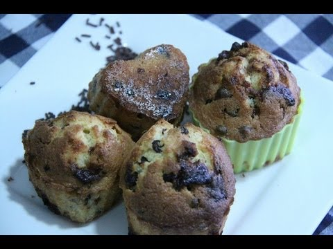 Muffins con  chocolate , magdalenas