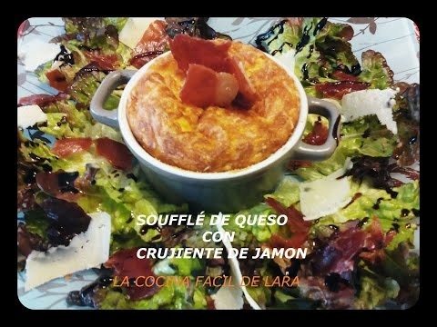 Souffle de queso con crujiente de jamon de Julia Child