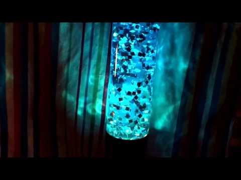 Custom Blue Living Jewel in Jet Lamp