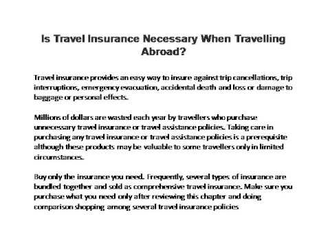 Is Travel Insurance Necessary When Travelling Abroad