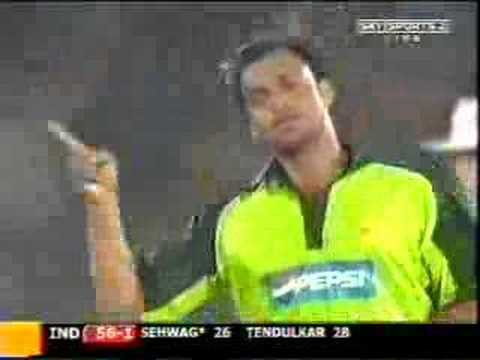 Pakistan Shoaib Akhter bowled India's Virender Sehwag