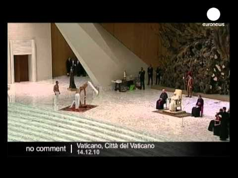 Topless acrobats spice up Papal audience - no comment