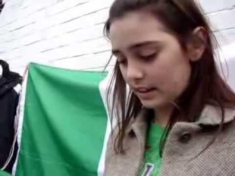 Irish Girl reads The Irish Proclamation, St. Patrick's Day Parade, 17th March 2014, Dublin