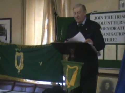 Billy McGuire speaking to the Irish Volunteer Commemorative Organisation