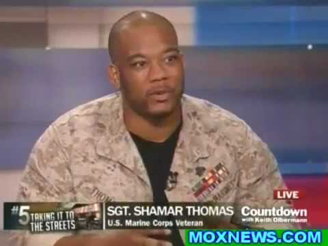Olbermann interviews marine veteran who shamed police - Sgt Shamar Thomas - Occupy Wall Street