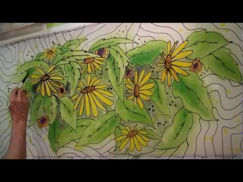 Hand Painted Fabric - speed painting