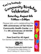 Fair Haven Community Health Center Community Birthday Celebration!