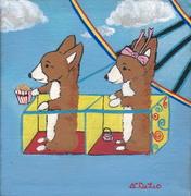 "♥Pembroke Welsh Corgi Original Painting ♥ ""Ferris Wheel Corgis"" ♥ % to CorgiAid ♥ Listed for charity ♥"