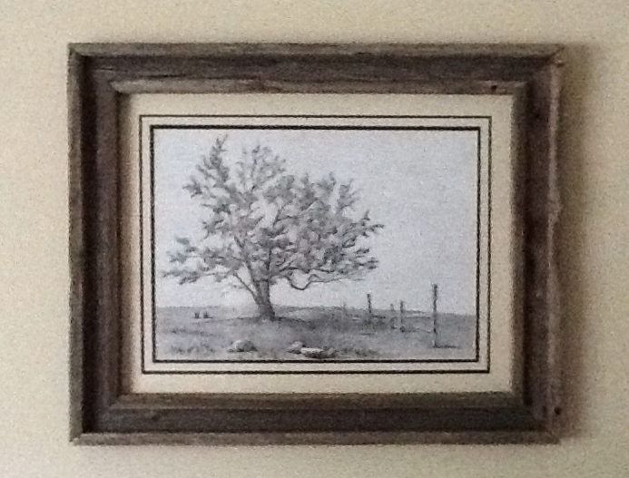 tree drawing with a custom made wooden frame