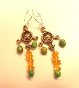 Celtic Cross Earrings --Amber and Green Turquoise....