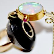Ebenholz Opal Ring