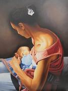 Jeune femme allaitant son bébé