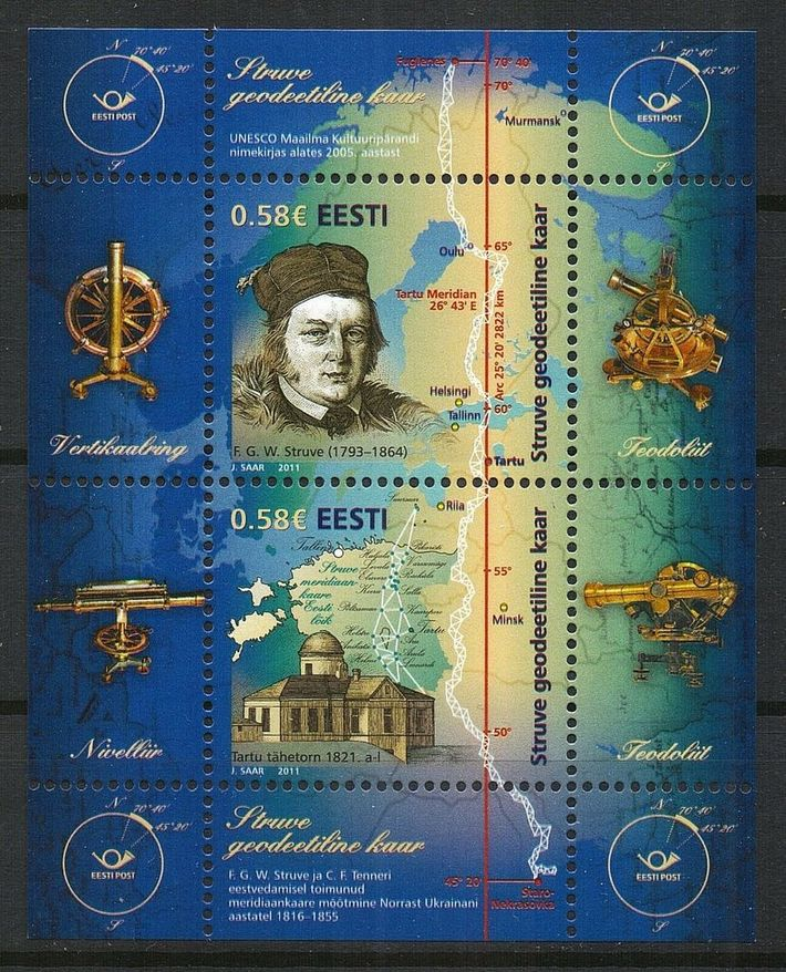 ESTONIA 2011 UNESCO STRUVE GEODETIC ARC SCIENCE MNH