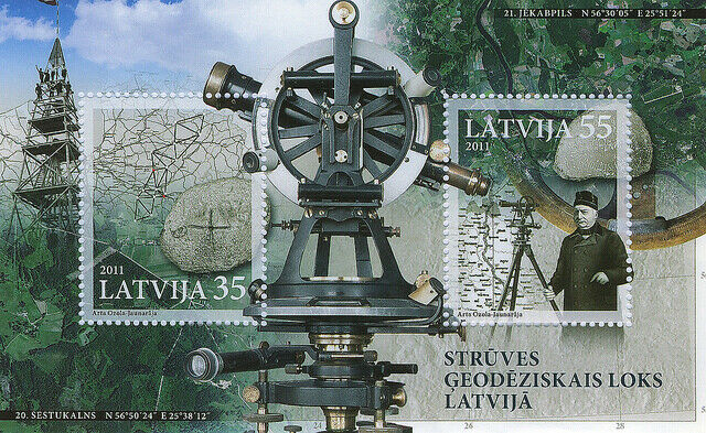Stamp of LATVIA 2011 - The Struve Geodetic Arc