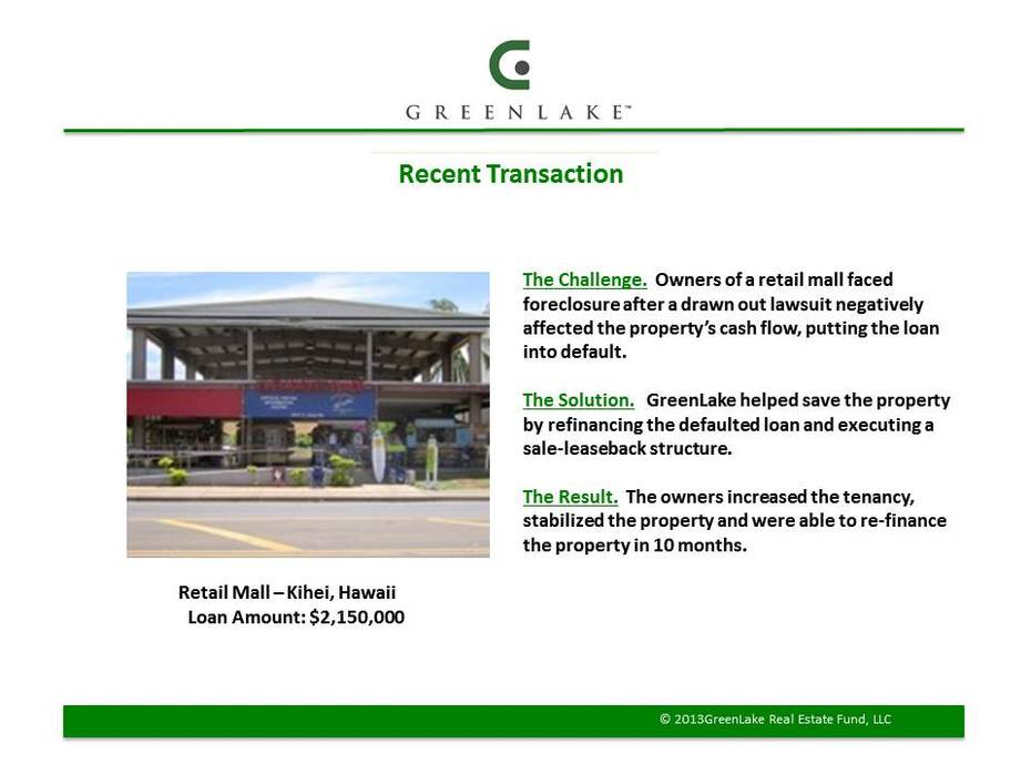 GreenLake Fund - Commercial Real Estate Finance