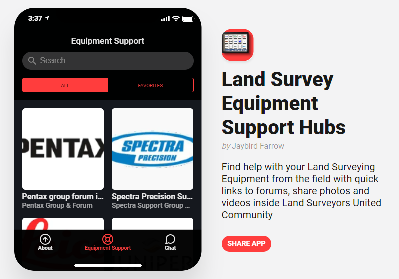 Survey Equipment Support App helps Surveyors Target Advice