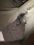 Pants worn once ripped inner thighs and at top
