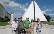 Russian TV staff in front of the Temple of Gook Will