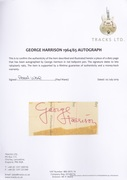 Tracks UK COA For George Harrison Autograph
