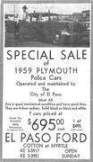El Paso Police Vehicles for Sale - 1961