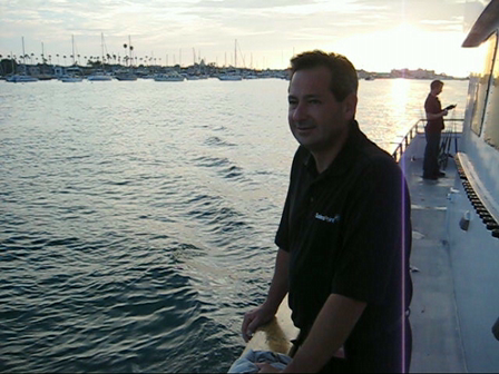 Doug Mitchell from Ford heads out to sea on the Urban Science Shark Fishing expedition