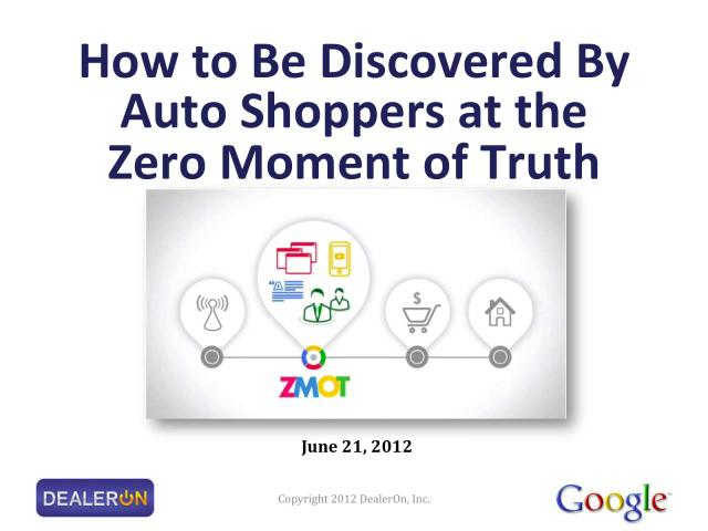 Expert from Google discusses How to Be Discovered by Auto Shoppers at the Zero Moment of Truth