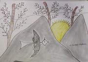 mountain with bird